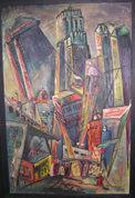 Painting of San Francisco Skyscrapers, 1950